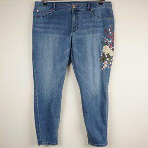 Jennifer Lopez Jeans - Jennifer Lopez Jeans Embroidered Floral Skinny 16